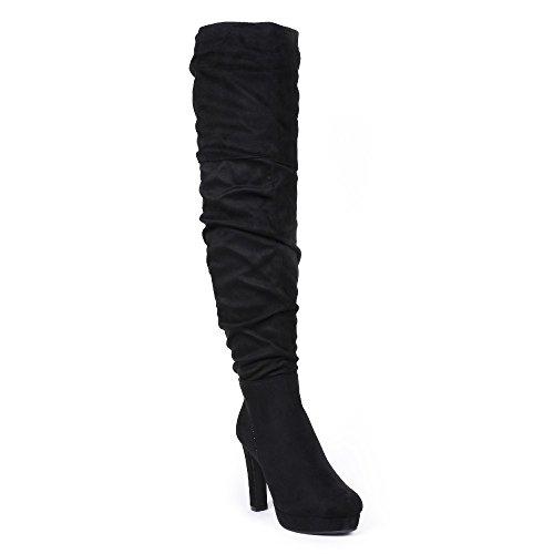 Ideal Shoes - Cuissardes plissées à talon Dolenia Noir