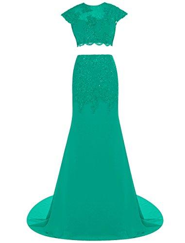 Dresstells, Robe de cérémonie Robe de soirée mousseline deux pièces avec appliques traîne moyenne Vert