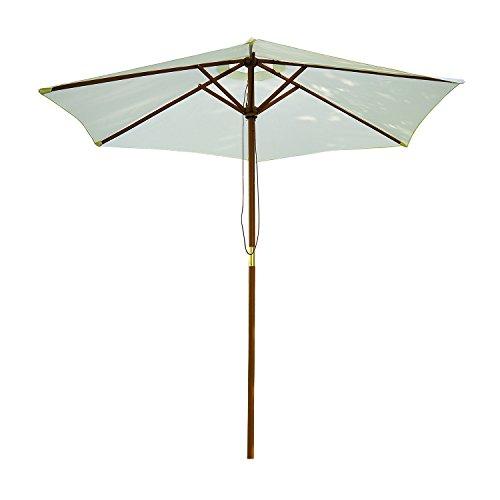Sombrilla Parasol para Terraza Playa Jardín Piscina Patio Camping - Color Crema - Poliéster Madera - 250x225 cm
