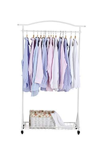 NEUN WELTEN Kleiderständer vornehm mit Räder Kleiderstangen Hoch mit Korbregal Lagerung 100 x 34 x 169 cm (Weiß)
