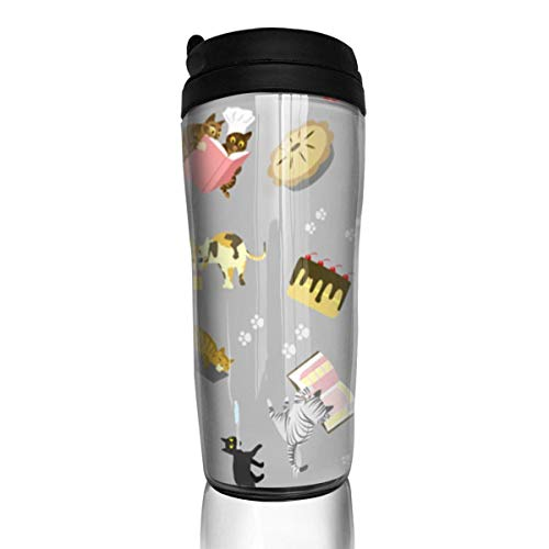 Travel Coffee Mug Cats Baking Cakes On Grey 12 Oz Spill Proof Flip Lid Water Bottle Environmental Protection Material ABS
