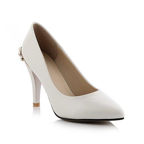 AllhqFashion Damen Pu Stiletto Spitz Schließen Zehe Rein Ziehen Auf Pumps Schuhe Weiß