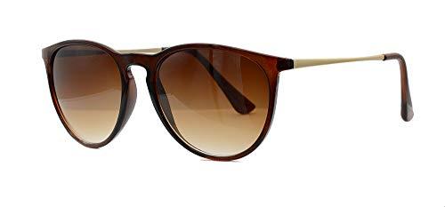 Vintage Sonnenbrille im angesagten 60er Style mit trendigen bronzefarbenden Metallbügeln Panto - Retro Brillen (Gradient)