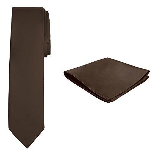 Jacob Alexander Solid Color Men's Tie and Hanky Set - Cocoa Brown