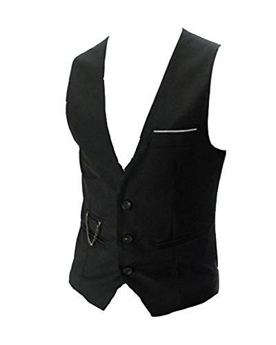 Gilet De Costume Pour Homme Gilet Mariage Casual Business Veste Gilet Sans Manche Noir M