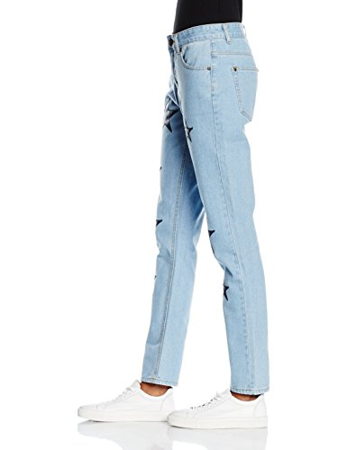 Boohoo Damen Star Print Jeans Blau (Blue)