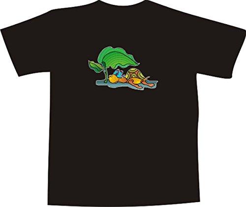 T-Shirt E868 Schönes T-Shirt mit farbigem Brustaufdruck Farbe nach Wahl XXL - Logo / Grafik - Comic Design - lustige Schildkröte mit Brille und Pflanze