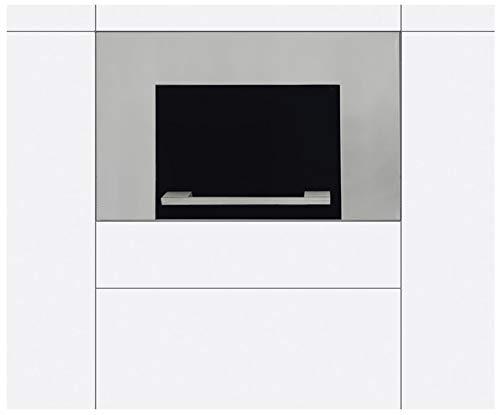 Wandschrank Klapptür universal einsetzbar für Mikrowellen, Grillöfen und andere Elektrogeräte Einbautür inkl. Bauelemente und Gasdruckdämpfer geeignet für diverse Küchensysteme Edelstahl-Glas