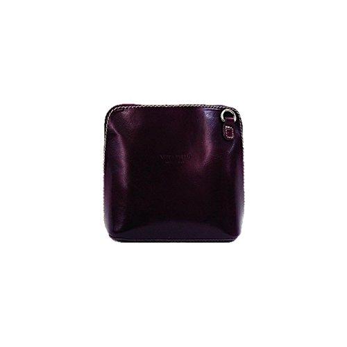 Vera Pelle Italiana Piccolo Croce Corpo Borsa o borsa a tracolla Purple Small Purple
