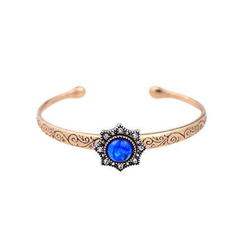 Yoyoly Charm Armbänder Zubehör Wild Legierung Armreif Retro Palace Synthetischer Diamant Saphir Armband Blume Ms Armband Einfach Großzügige Western Style Manschette Bangle-Geschenk Für Mutter