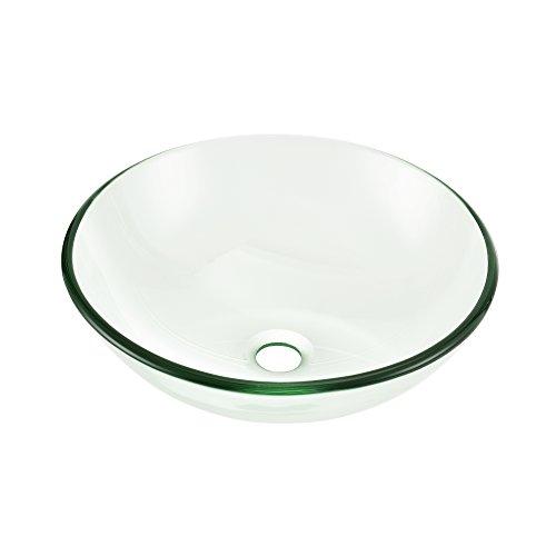 [neu.haus] Waschbecken aus gehärtetem Glas rund (Ø42cm) Aufsatzbecken Schale