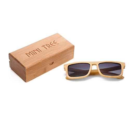 Mini Tree Vintage Bambus Sonnenbrille Polarisiert Sonnenbrille Bambus Damen Herren Sonnebrille Herren Holz 100% UV400 Schutz Outdoor Brille mit Etui Gross (Grau) ... Coll Box