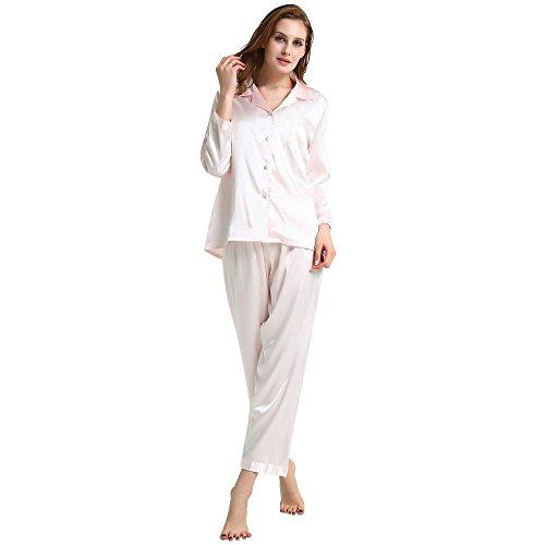 Damen Seide Schlafanzug Pyjama Rosa XXX-Large