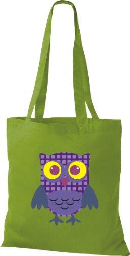 Sacchetto Di Stoffa Gufo Colorato Borsa Da Trasporto Carino Con Puntini Karos Stripe Owl Retro Color Lime Vario