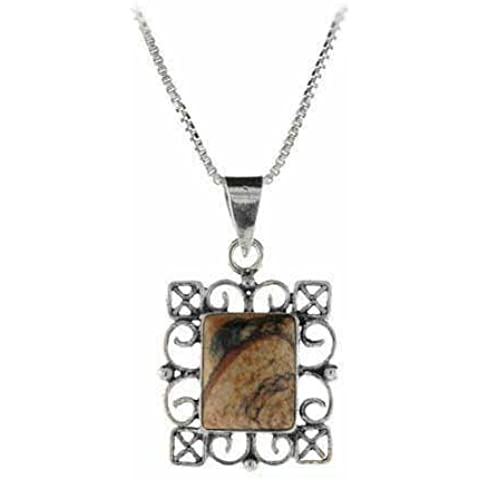 Genuine Picture Jasper, in argento Sterling, con pendente rettangolare in filigrana