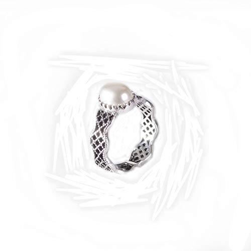 zhenfa S925 Silberring,S925 Silver Lady Perlenring,Vintage Gravurverfahren,Einstellbarer Ring,Hypoallergen,Mit Einer Ringbox