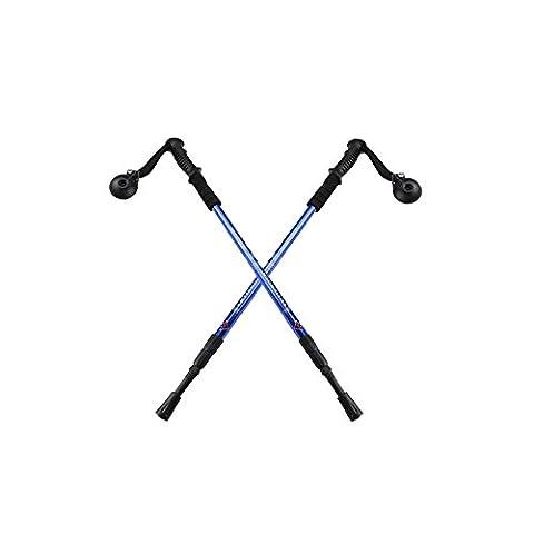 AGPtek Blue Hiking Trekking AntiShock Walking Stick Pole Retractable Adjustable Compass (2 pcs