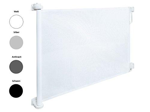 IMPAG Schutzgitter RETRA | stufenlos 50 bis 150 cm | ausziehbar & einrollbar |Rollo Türschutzgitter Treppenschutzgitter | Ohne Stolperkante | Einhandbedienung | Höhe 85 cm Extrahoch 105 cm