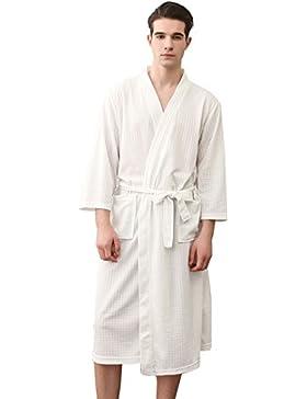 SUIMO - Albornoz de Baño Ducha para Hombre Mujer Bata de Baño Fino Suave para Piscina Hotel SPA Manga Larga -...
