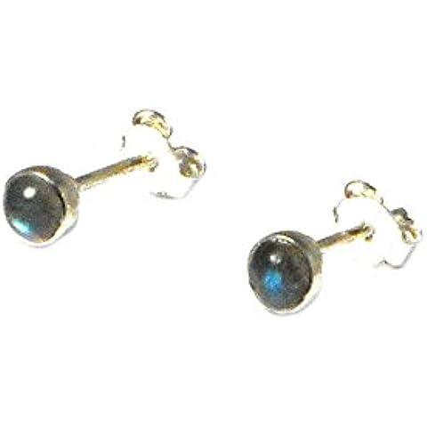 labradorite, forma rotonda, 4mm–orecchini in argento Sterling 925, in confezione regalo (ls1905161)
