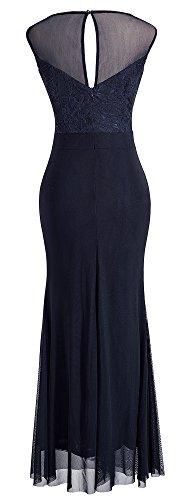 HOMEYEE Vintage maniche rappezzatura del merletto da cocktail maxi vestito delle donne A028 Blu