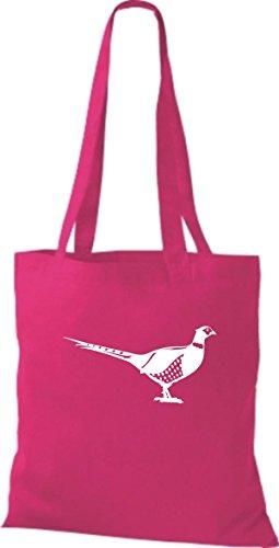 Shirtstown Stoffbeutel Tiere Fasan, Vogel pink