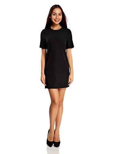 oodji Collection Damen Kleid aus Festem Stoff mit Reißverschluss am Rücken, Schwarz, DE 40 / EU 42 / L (Reißverschluss Rücken Kleid)