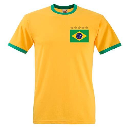 Print Me A Shirt Camiseta de Hombre Pele Brazil Brasil de Adultos