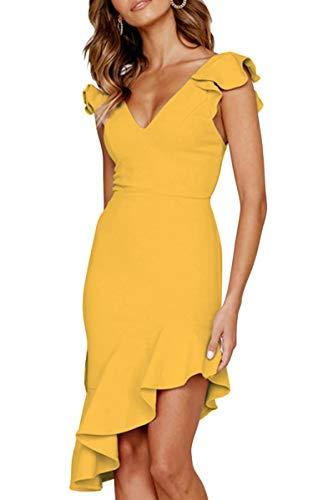 Angashion Damen Sexy Sommer Kleid V-Ausschnitt Armellos Rückenfrei Partykleid Unregelmäßig Abendkleider Gelb L