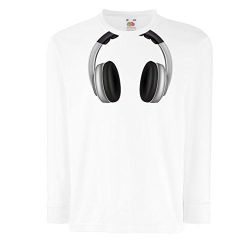 lepni.me Kinder-T-Shirt mit langen Ärmeln Coole Kopfhörer - Musik Rock And Roll DJ Kleider (9-11 years Weiß Mehrfarben)