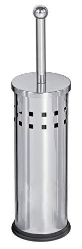 Set scopino da bagno e portascopino cromato, acciaio inox, componenti interne in plastica lavabile, elegante, colore argento