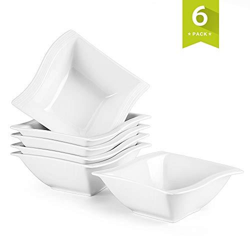 MALACASA, Serie Flora, 6 TLG. Porzellan Schüsseln Set Schale Müslischale Dessertschalen Reisschüsseln 5,75 Zoll / 14x14,5x5,5cm für 6 Personen 5.75