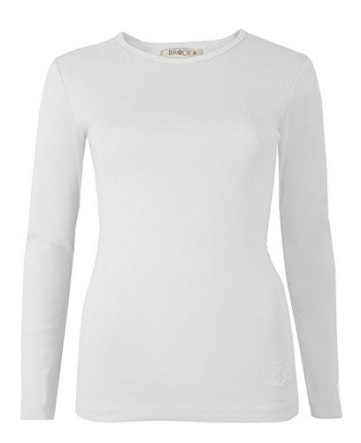 Brody & Co T-shirt à manches longues pour femme en coton de qualité supérieure et à col rond Ski Uni Blanc