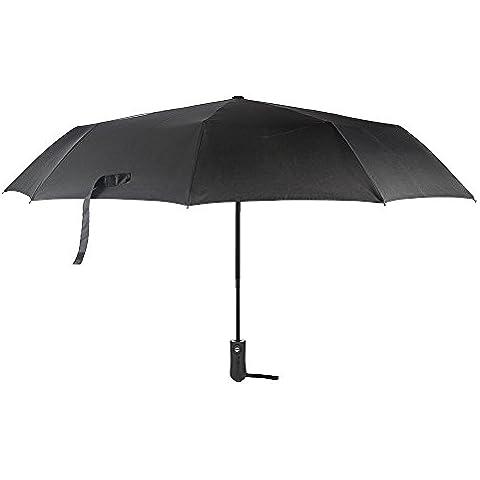 Ombrello Pieghevoli antivento,Auto Open per chiudere Ombrello da viaggio di alta qualità e resistenza ,funzione anti-vento - Tessuto nero