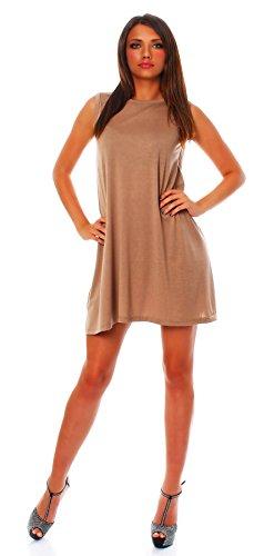en Sommer Kleid Minikleid Top Tunika Shirt Rundhals Cappuccino L ()