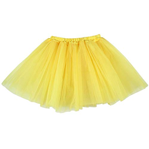 Ksnrang Damen Tütü Rock Minirock 3 Lagen Petticoat Tanzkleid Dehnbaren Mini Skater Rock Erwachsene Ballettrock für Party Halloween Kostüme Tanzen (Gelb)
