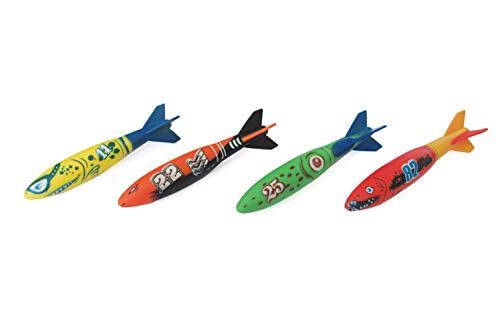 Pool-Stick,Kinder Tauchen Hai/Torpedo Wasserspielzeug, Bad Wasserspielzeug Unter Wasser Schwimmen Strandspielzeug Hai-Rakete Form Werfen Torpedo Für Kinder 5-8 Jahre Alt,Zufällige Farbe (4 Stück),M -
