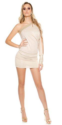 Beautiful One-Arm-Minikleid im Asymmetrie-Look mit Pailletten-Besatz Beige