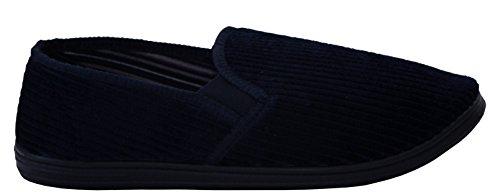 A&H Footwear , Herren Flache Hausschuhe Navy/Corduroy