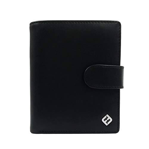 FreeHaveFun FreeHaveFun® RFID Herren Geldbörse Hochformat groß mit Münzfach, glänzendes echtes schwarzes Nappa Leder - Männer Geldbeutel, Portemonnaie, Geldbeutel, Brieftasche, Wallet, Geldtasche, Kleingeldfach