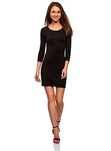 oodji Ultra Damen Enges Kleid mit Tropfen-Ausschnitt am Rücken, Schwarz, DE 40 / EU 42 / L (Schleife Kleid Kleine)