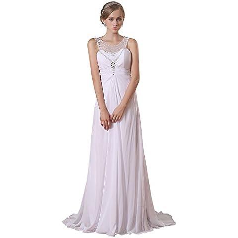 Adasbridal-vestidos de novia Impresionante de gasa de Escote Scoop de A-linea