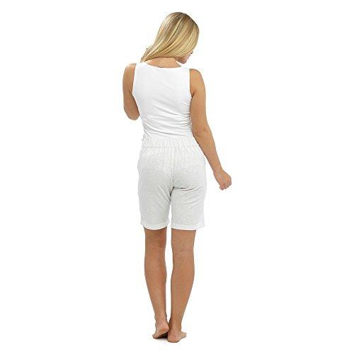 Femme pour l'été lin Short avec cordon de serrage, poches & & tailles différentes couleurs Blanc