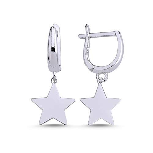 Sterne12mm Klappcreolen aus 925 Echt Silber + rhodiniert Mädchen Kinder Damen Ohrringe (Silber)