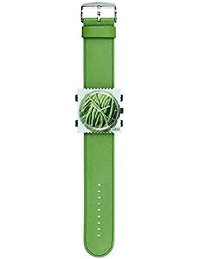S.T.A.M.P.S. Stamps Uhr KOMPLETT - Zifferblatt Green Twine mit grünem Lederarmband