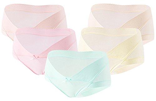 Feoya 5er Pack Mutterschaft Niedrig-Taille Slip Baumwolle Schleife Schwangerschafts Unterwäsche Hipster Schlüpfer für Unterhalb des Babybauchs
