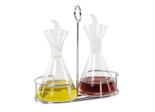 ANDREA HOUSE  Set vinagrera y aceitera de vidrio con soporte cromado matraz