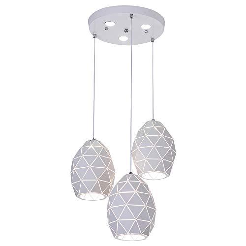CUIRUILIAN Nordische Einfachheit geometrische 3-Lichter Küche Insel Kronleuchter Triple 3 Heads Anhänger hängende Decke Leuchte mit Ei Art hohlen Lampenschirm aus Schmiedeeisen -