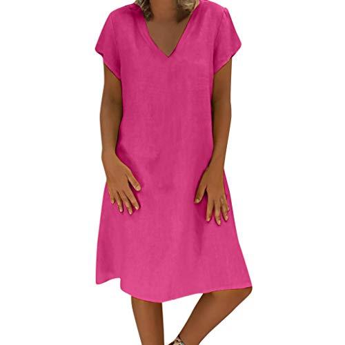 LOPILY Damen Sommerkleider Einfarbig Einfach Bequem Freizeit Minikleid Frauenkleid mit Knopf Lose Taschen Tunika Blusenkleider Übergröße Kleider(X1-Hot Pink,EU-50/CN-4XL) -