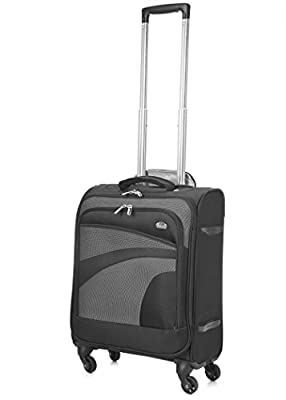 "Aerolite 55x40x20 Ryanair Maximum Cabin Allowance Super Lightweight Travel Carry On Hand Luggage Suitcase with 4 Wheels, Also Approved for Easyjet, British Airways and Many More! (21"", Black/Grey)"